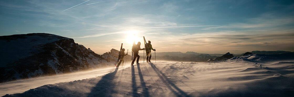 3 randonneurs portant leurs skis sur le dos