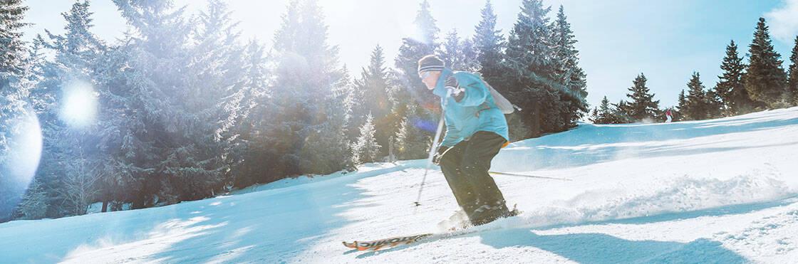 skieuse ski alpin foret