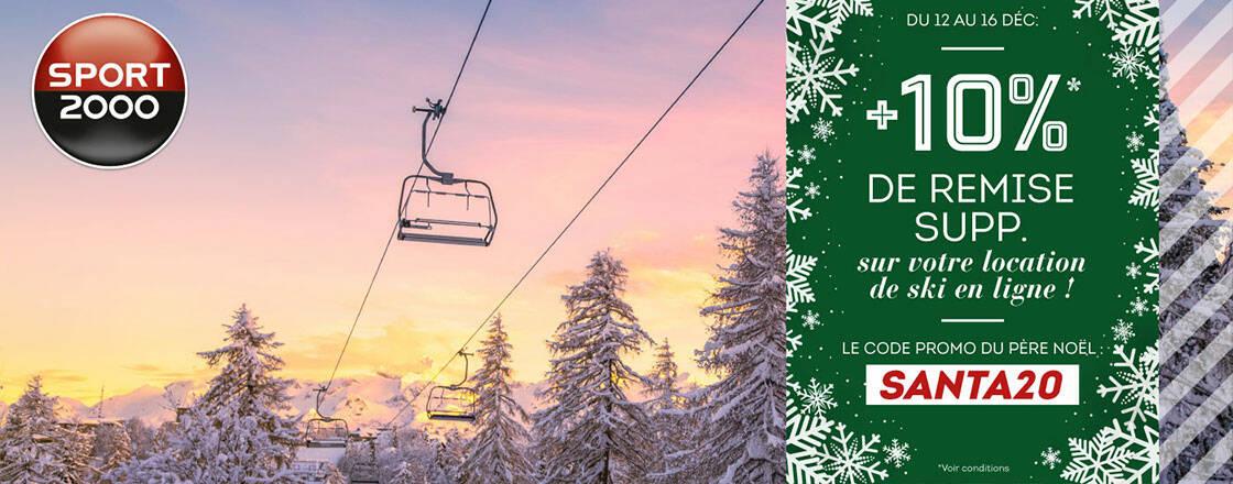 remise de 10 % location matériel ski noel sport 2000